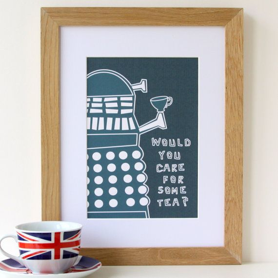 Dr Who Graphic Dalek Tea Print 'Would you care by designedbywink, £15.00