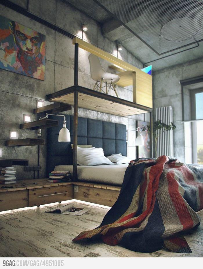 Loft / chambre - escaliers planches