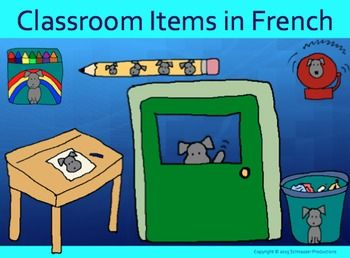 """Pepper goes to school to learn twenty-five classroom items and related sentences in French.  This package includes two booklets, a PowerPoint, posters for younger students to write on, writing practice and quiz sheets, and Pepper's Classroom Items to Use as Labels, Cards or as """"at-a-glance"""" Sheets."""