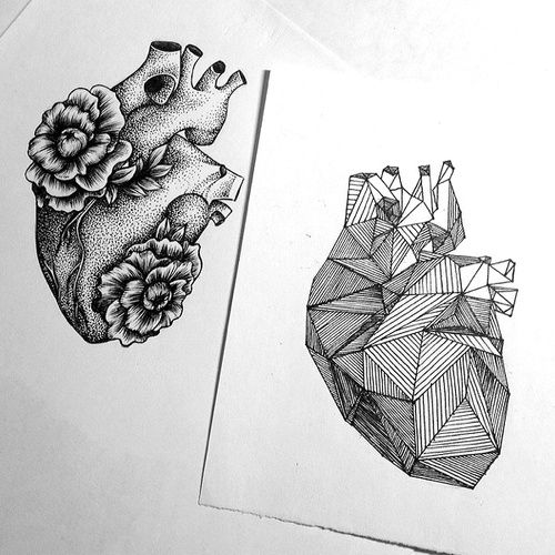 Not so sure about the geometric heart but I love the flowers on the other.