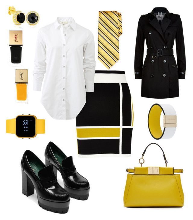 """Yellow stripe skirt"" by pinnulinen on Polyvore featuring Fendi, River Island, rag & bone, Brooks Brothers, Burberry, Salvatore Ferragamo, Yves Saint Laurent and 1:Face"