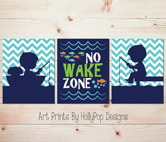 No wake zone Boy fishing art Baby decor Nursery by HollyPopDesigns