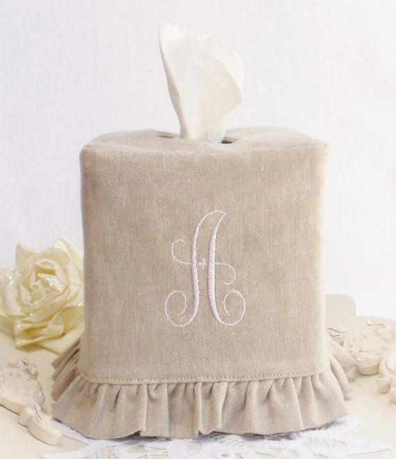"""Monogram Natural Linen ruffled tissue box cover with a """"C"""""""