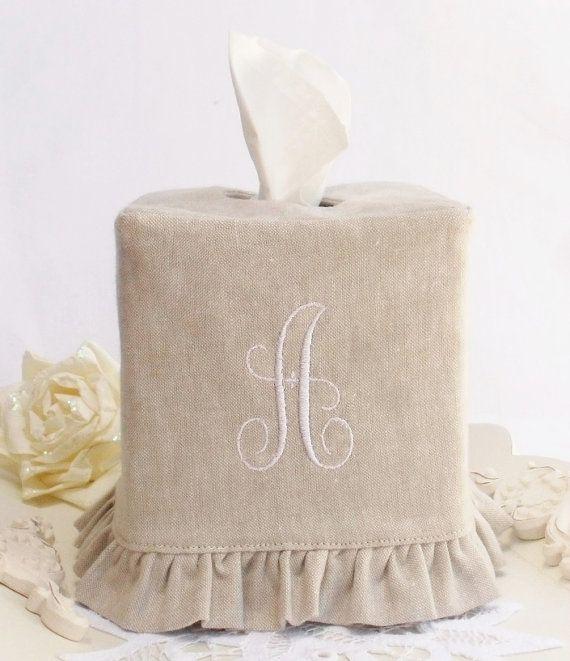 Monogram Natural Linen ruffled tissue box cover