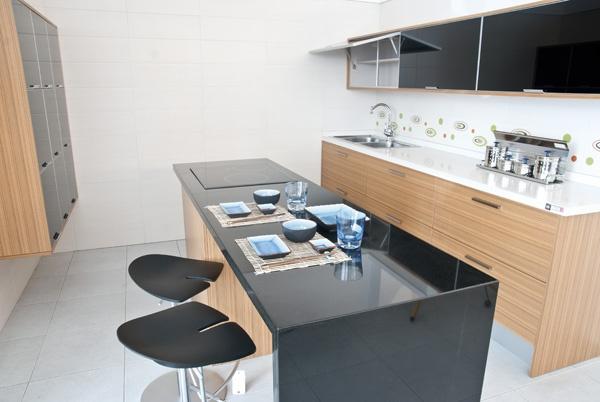Cocina modelo ar n encimera de silestone y barra en - Cocinas en negro ...