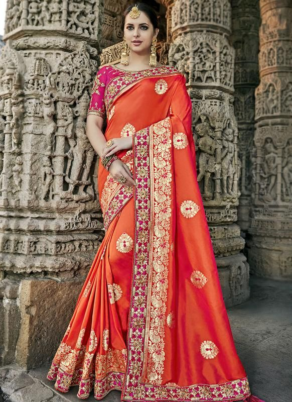c8a7b0c6fad6 Elegant Orange Silk Designer Party Wear Saree in 2019 | Party Wear Sarees |  Designer silk sarees, Party wear sarees, Silk sarees