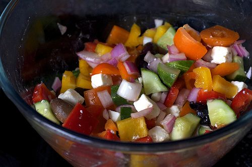 This is a really good salad, although next time I would soak the onions in the vinegar for at least a day.