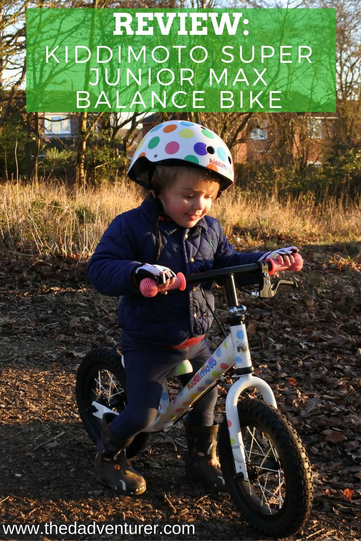 A review of the Kiddimoto Super Junior Max Balance Bike in pastel dotty, with matching helmets and gloves.  Click through to find out what we've thought about the balance bike, how Toddler L has got on with riding her bike and why I gave it 5 out of 5 stars. @kiddimoto @kiddimotooffici