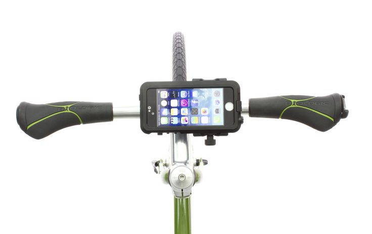 The BioLogic AnchorPoint bar mount can mount cases in landscape mode. http://www.thinkbiologic.com/products/anchorpoint-bar-mount