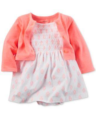 Carter's Baby Girls' 2-Piece Coral Bodysuit Dress & Cardigan Set