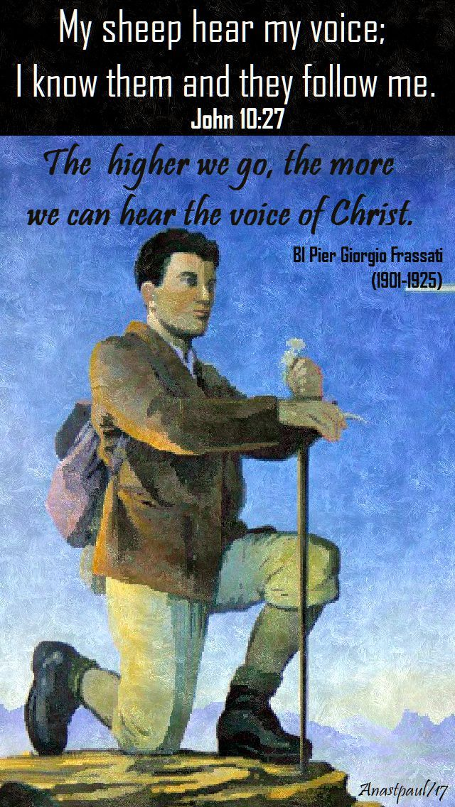 """One Minute Reflection – 14 November My sheep hear my voice; I know them and they follow me…..John 10:27 REFLECTION – """"The higher we go, the more we can hear the voice of Chr…"""