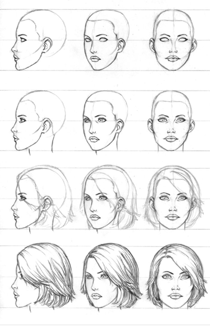 Woman Drawing Sketches Step By Step Front Profile Short Hair In 2020 Drawing Tutorial Face Female Face Drawing Profile Drawing