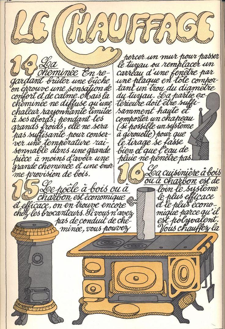 14 - la cheminée - 15 - le poêle à bois ou à charbon - 16 - la cuisinière à bois ou à charbon