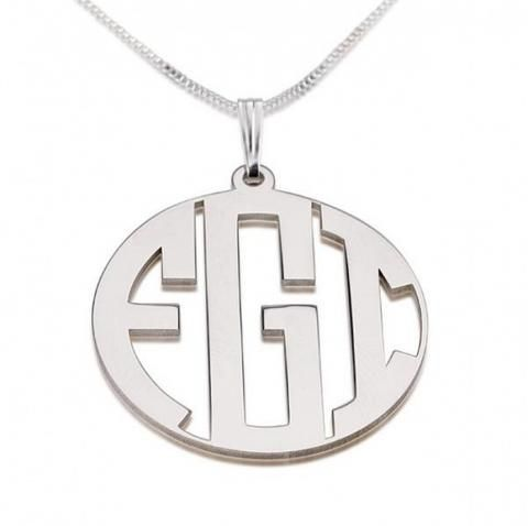 Personalized Sterling Silver Capital Letters Border Monogram Necklace