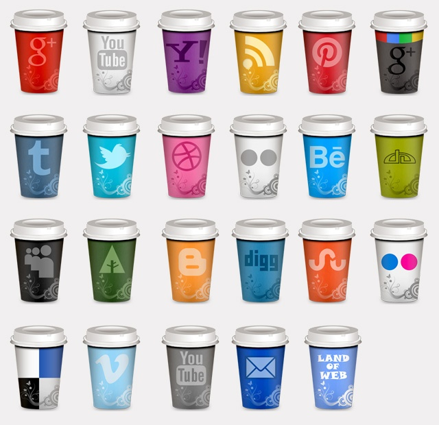 """Social Icons """"Takeout Coffee Cup"""" .Today I share with you updated version of Social Icons """"Takeout Coffee Cup"""" set. I have added 10 more social icons such as pinterest icon, vimeo icon, behance icon, forrst icon etc.    As usual, you will find 5 different sizes from the biggest – 512x512px to the smallest 32x32px.    All icons in png format and free for personal and commercial use. http://www.land-of-web.com/freebies/icons/freebie-update-set-of-social-icons-takeout-coffee-cup.html free…"""