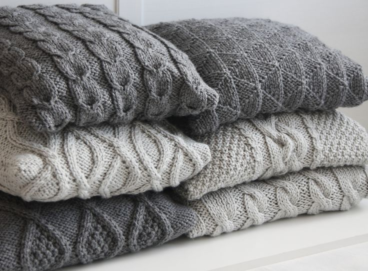 Grey hand knitted pillow covers hand knit cushions Cable knit Sweater pillow