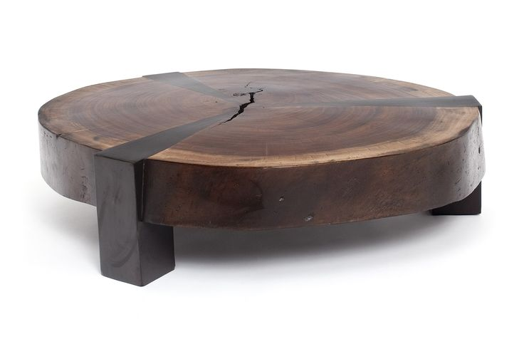 Modern rustic coffee table from wood slab slice
