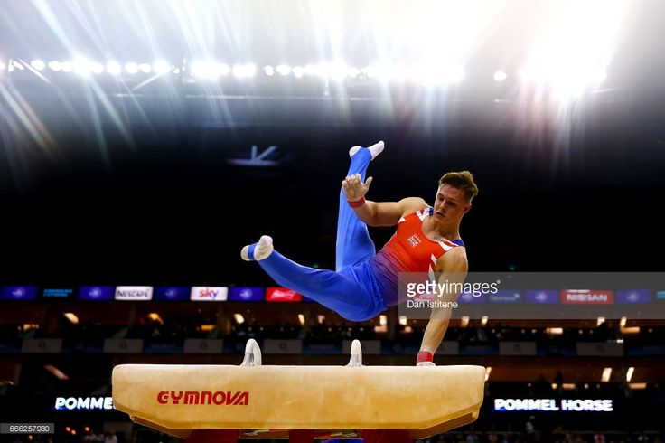 Brinn Bevan of Great Britain competes on the pommel horse during the men's competition for the iPro Sport World Cup of Gymnastics at The O2 Arena on April 8, 2017 in London, England.