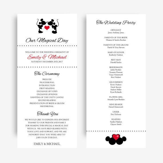Mickey And Minnie Wedding Programs Disney By Wedsclusive