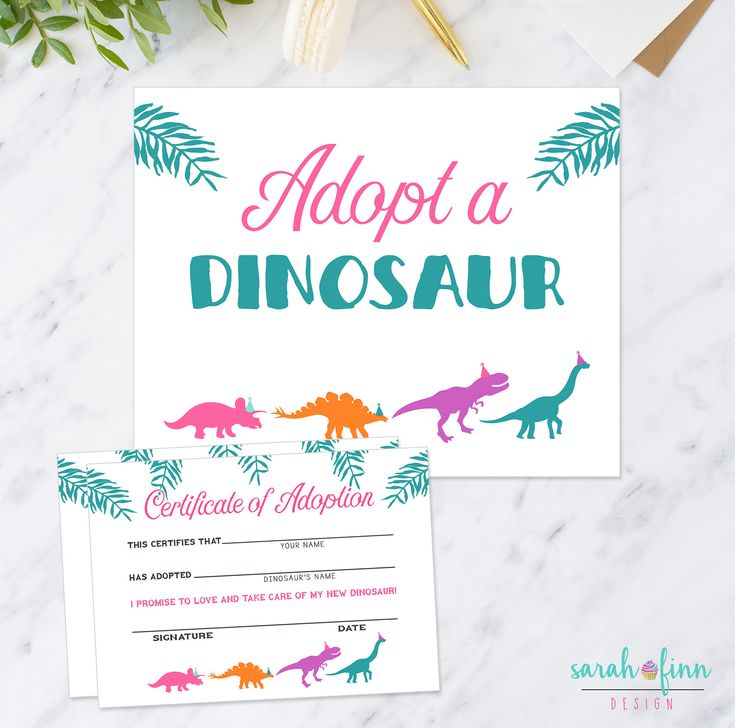 Adopt a Dinosaur Printable Sign and Certificate Girl Modern Dino Birthday Party Printable Game Instant Download Adoption Sign