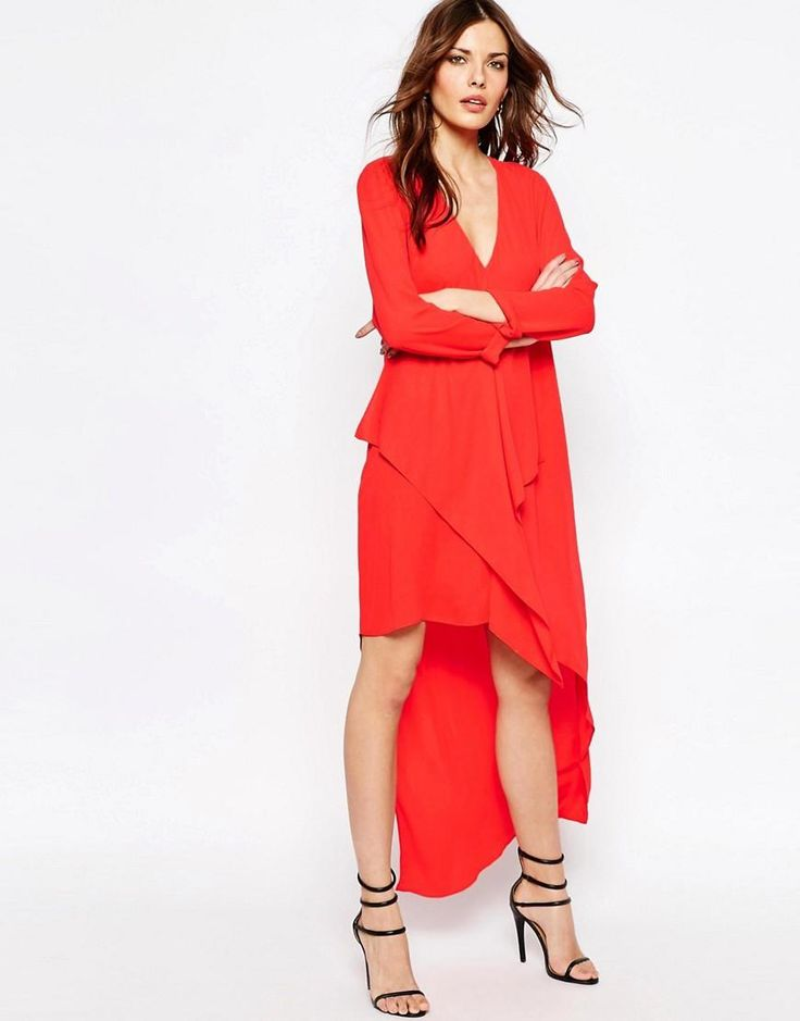 BCBG MaxAzria | BCBG MaxAzria Asymmetrical Drape V-Neck Maxi Dress in Bright Poppy at ASOS