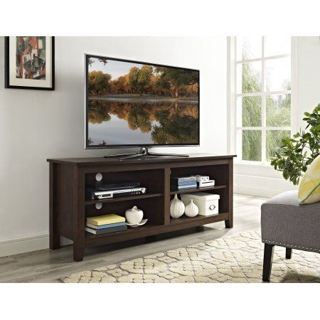58 inch Wood TV Media Stand Storage Console - Traditional Brown