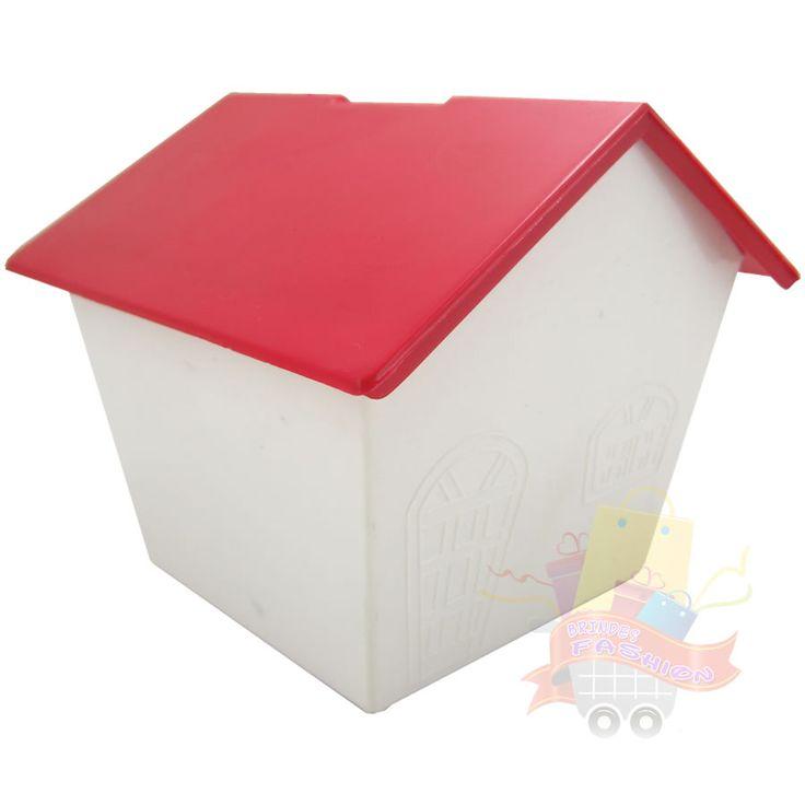 Foto principal de Cofrinho Casinha Próspere Plastic para Personalizar com Telhado Vermelho