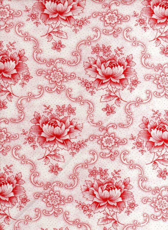 Hollandse quiltstof pioenroos wit-rood
