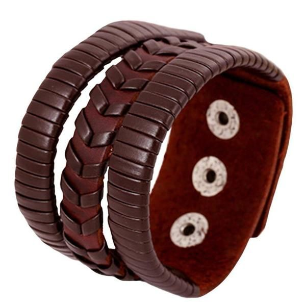 Bracelet - Vintage Leather Bracelet With Wide Cuff
