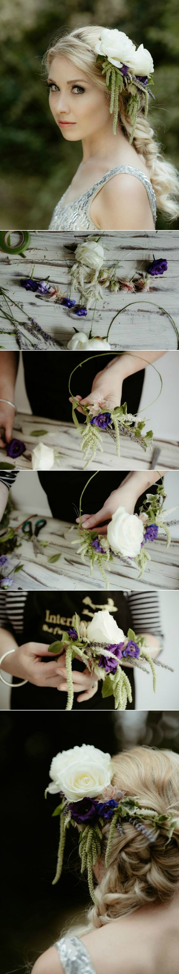 A half flower crown is a gorgeous floral headdress, more subtle than a full crown and lovely for Boho brides as it makes a striking organic alternative to the tiara. Follow this step by step tutorial by the experts at Interflora and find out how to make a half flower crown for your wedding day.