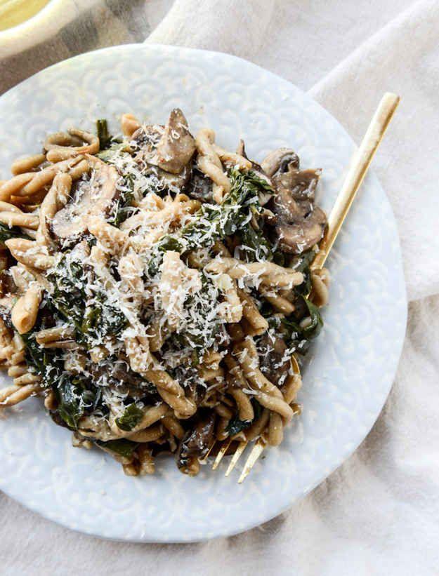 One Pot Mushroom and Swiss Chard Pasta