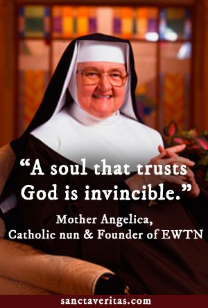 """You can listen to Mother Angelica on """"Mornings with Mother"""" on The Station of the Cross Catholic Radio Network and the iCatholic Radio App! www.thestationofthecross.com"""