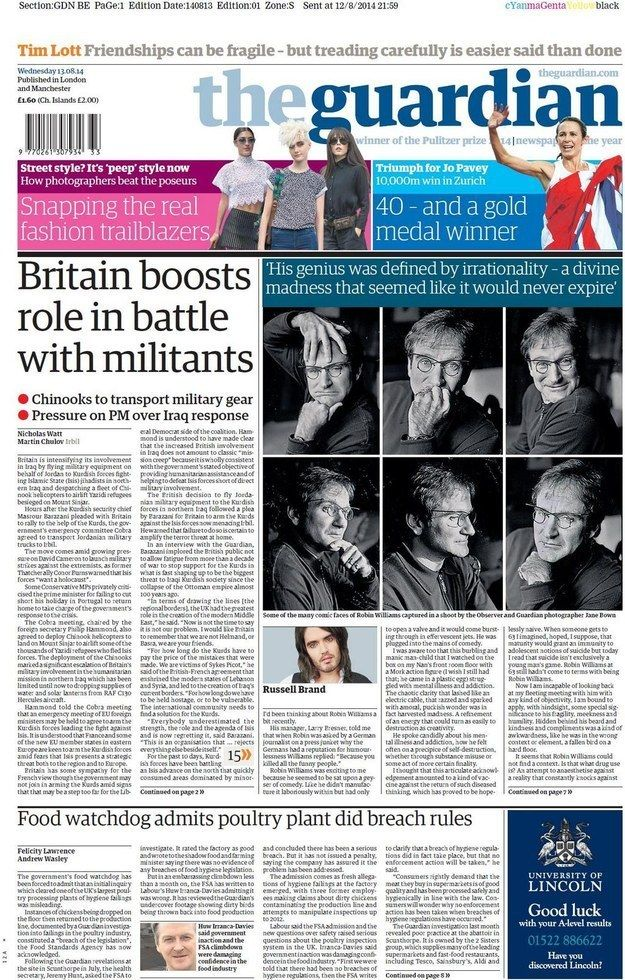 "The Guardian: ""His genius was defined by irrationality – a divine madness that seemed like it would never expire"" (by Russell Brand) 