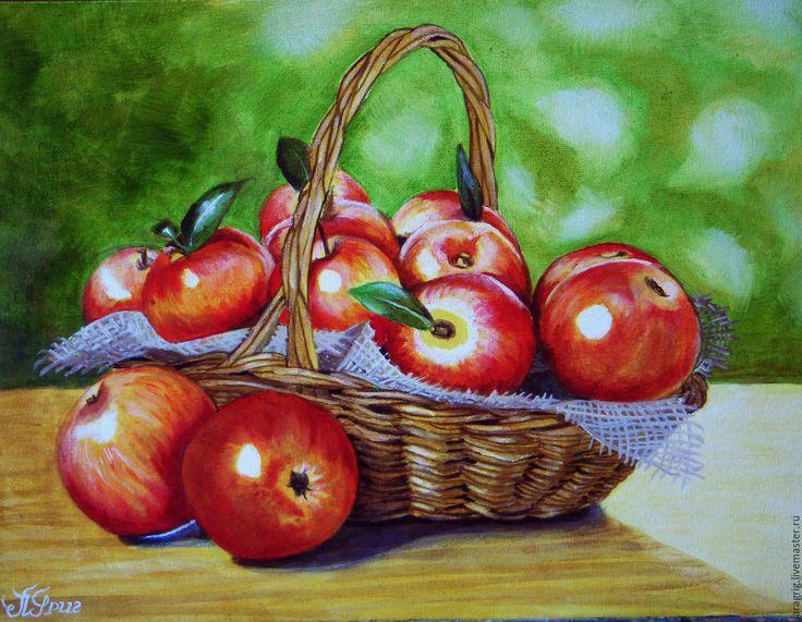 """Купить """"Яблочки наливные """"- художник Лариса Григ - ярко-красный, яблоки, корзинка"""