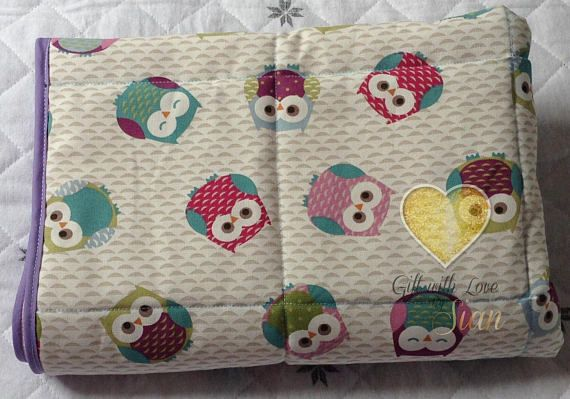 Handmade quilted cot blanket. Fryetts fabric. Owls, multi coloured. Nursery, Baby shower, new baby. Made in scotland.