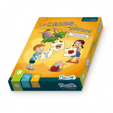 Le casse-phrase est conçu pour aider les enfants de 2 ans et demi à 4 ans à faire  des phrases complètes, qui comprennent un sujet, un verbe et un complément. Il permet aussi aux enfants de 4 ans à 6 ans et plus de prendre conscience des différents constituants d'une phrase. La présentation sous forme de casse-têtes leur offre un support visuel et  les aide à tenir compte de tous les «morceaux». #Placote, Éditions Passe-Temps