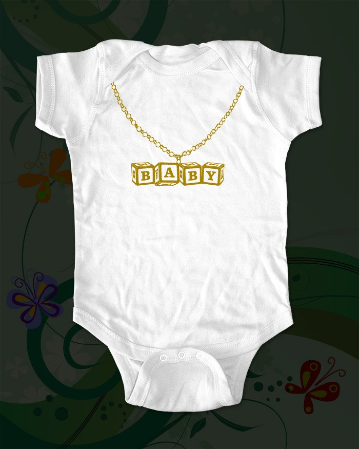 Baby gold chain cute funny baby one piece bodysuit gold for Baby onesie t shirt