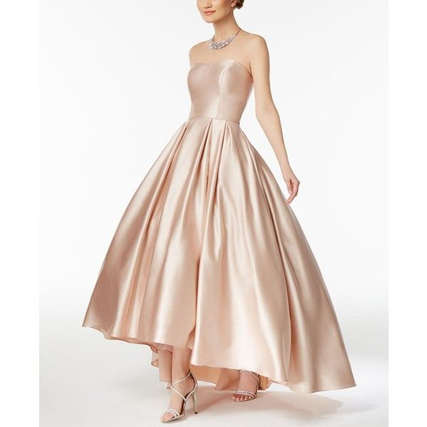 Betsy & Adam Strapless High-Low Ball Gown (4,845 EGP) ❤ liked on Polyvore featuring dresses, gowns, beige, pink evening dress, strapless hi-low dresses, pink evening gowns, pink strapless dress and pink sparkly dress