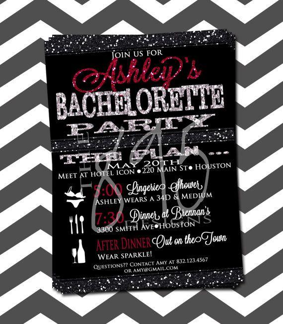 Digital Printable Sparkle Bachelorette Party Invitation