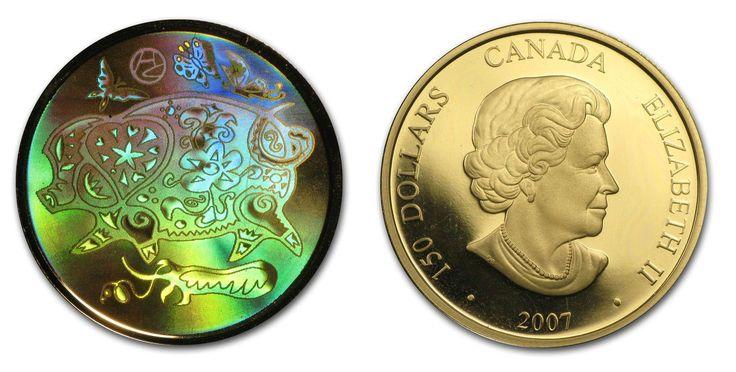 2007 Canada Gold $150 Lunar Pig (Hologram, Impaired)