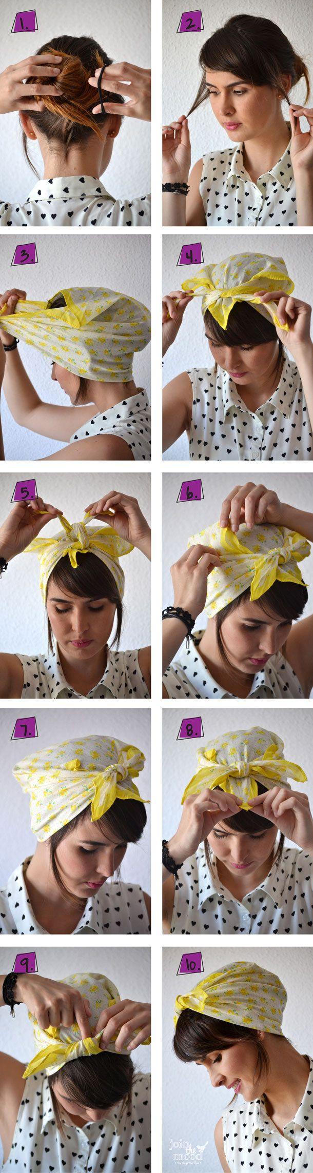 O este look con pañoleta para cuando no quieres mostrar mucho: | 20 Peinados frescos, fáciles y con estilo para el calor