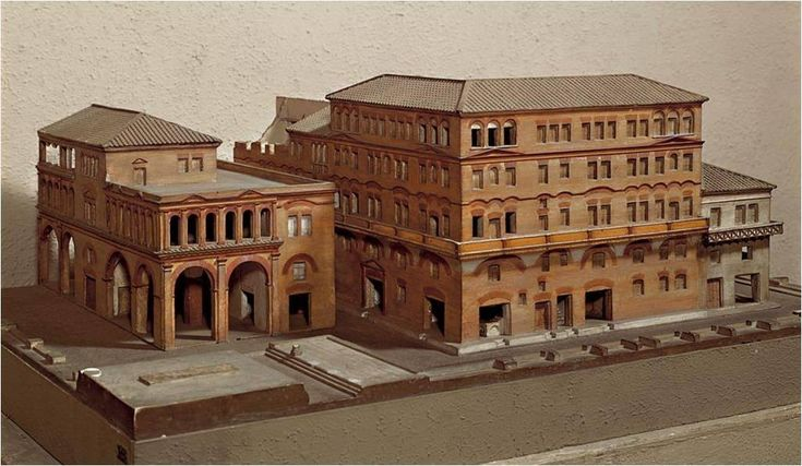 Model of a Roman apartment building, called an insula (insulae in the plural), which means 'island'.