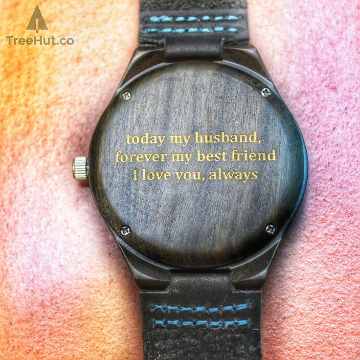 Theo Blue Wooden Watch with personal engraving message reading : Today my husband, forever my best friend I love you always Handmade in San Francisco