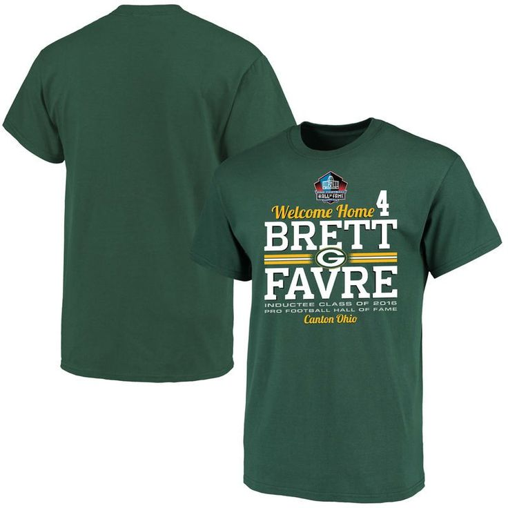 Brett Favre Green Bay Packers Majestic Welcome Home Hall of Fame Name & Number T-Shirt - Green
