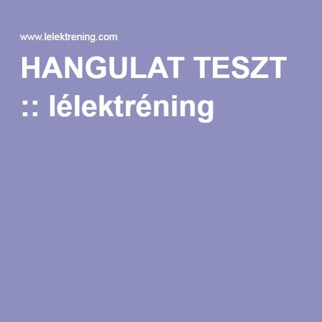 HANGULAT TESZT :: lélektréning