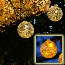 check out the deal on aurora glow glass solar string lights with amber led at battery