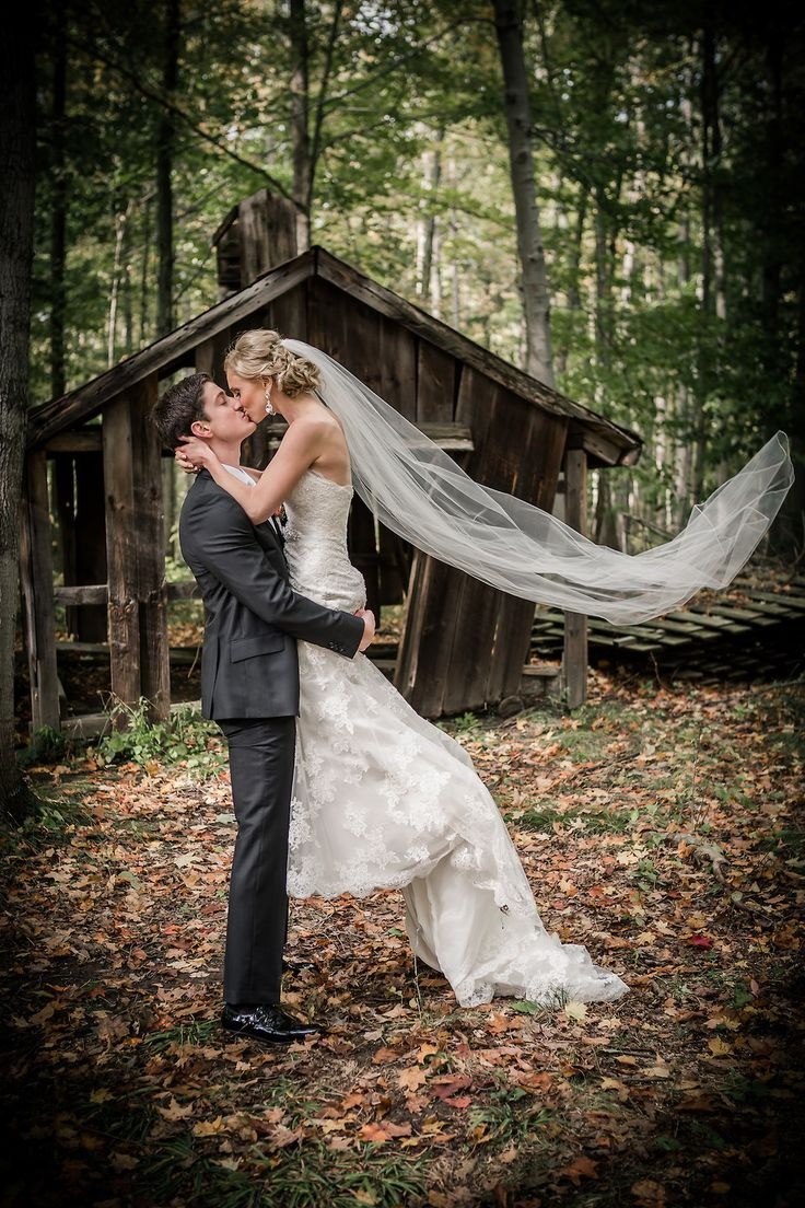 Bride and groom, Outdoor, Forest, Rustic, Fall wedding, Wedding picture ideas, Lace wedding dress,  Long train, Long veil, Wedding updo, Wedding hair, Beautiful, Elegant, Unique, Wedding venue, Whistle Bear, Cambridge, Ontario, Canada wedding photography experts | Anne Edgar Photography