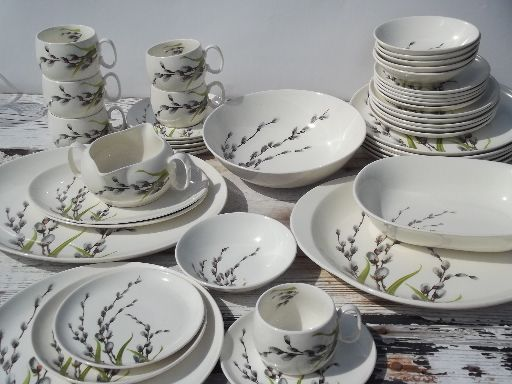 Pussy willow print 50s vintage W S George china dinnerware, set for 6