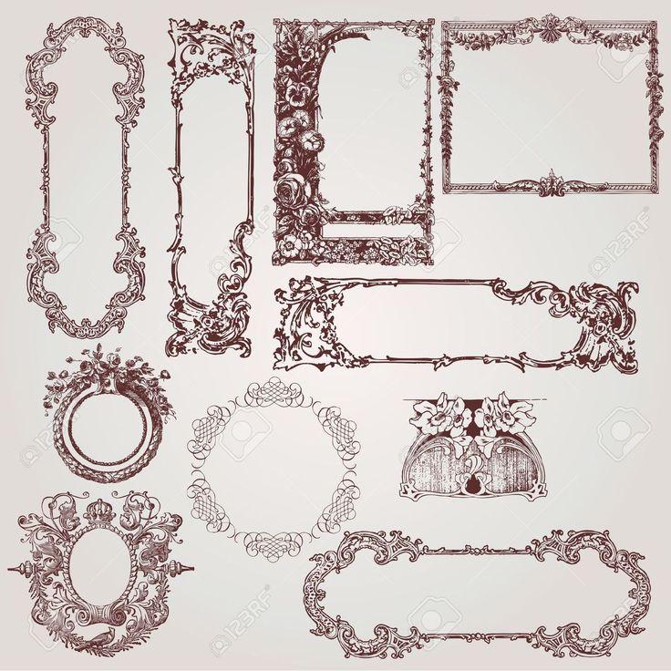 Una Colección De Hermosos Marcos Antiguos De Victorianos, Barrocos Y Elementos De Diseño Ilustraciones Vectoriales, Clip Art Vectorizado Libre De Derechos. Image 10039306.