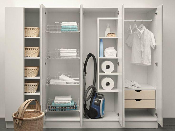Tall lacquered laundry room cabinet IDROBOX Idrobox Collection by Birex